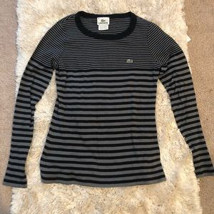 Lacoste black and grey striped long sleeve T-shirt